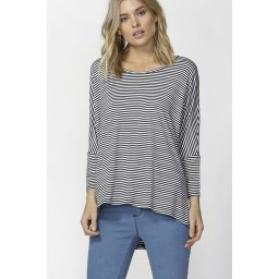 Betty Basics - Milan 3/4 Sleeve top - Navy white stripe