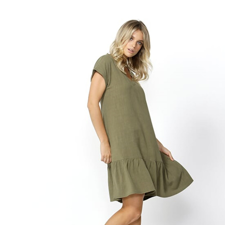 BETTY BASICS RYLAND DRESS IN KHAKI