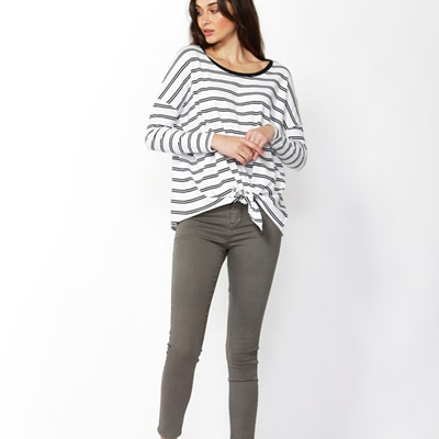 Betty Basics - Willow Knot Top - White w Black stripe