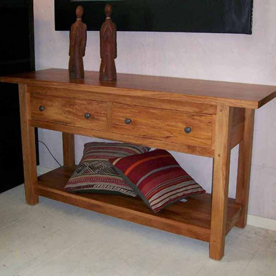 A Bexton Hall Table Two Drawers Subtly Aged Warm Rimu Stain