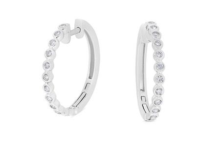 Bezel Set Diamond Hoop Earrings