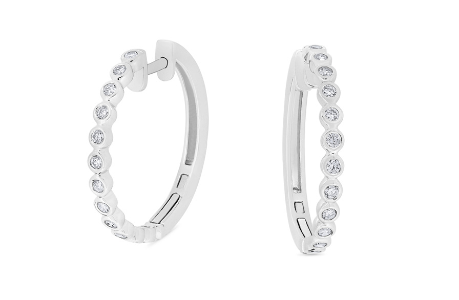 Bezel Set Diamond Hoop Earrings
