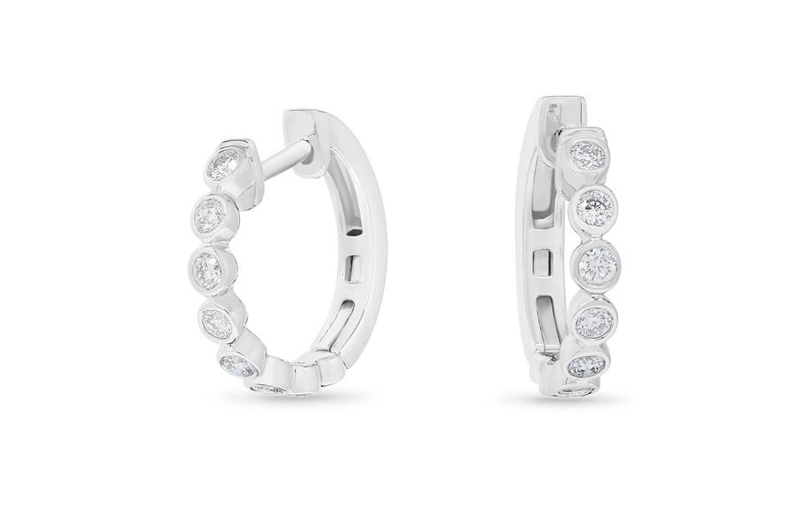 Bezel Set Diamond Huggie Earrings