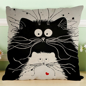Big Black & Little White Cat Cartoon Cushion Cover
