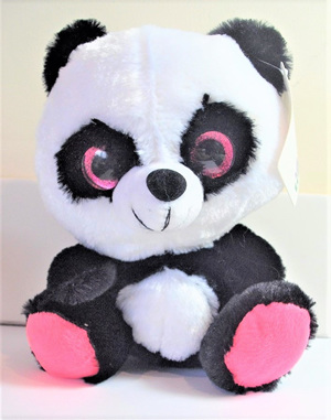 Big Eyes Panda Soft Toy: Pink Feet