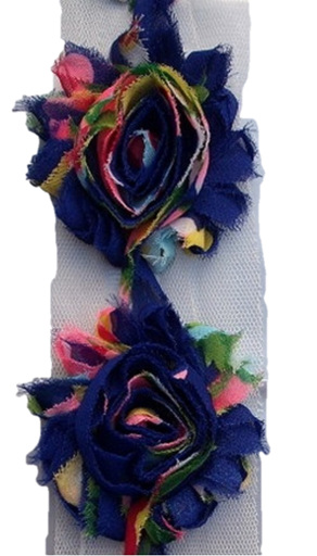 Big Vintage Blue & Pink Roses Shabby Lace x 1 Metre