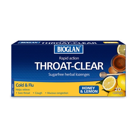 Bioglan Throat Clear Lozenges, Honey and Lemon 20 Pack