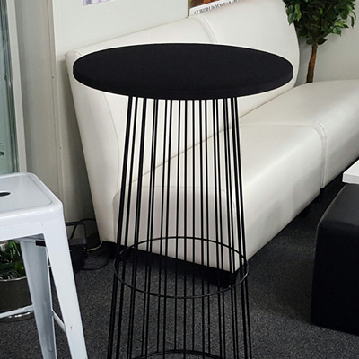 Bird Cage  Bar Leaner Gloss Black 70cm Round