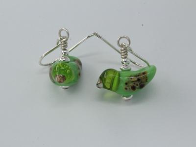 Bird earrings - Green