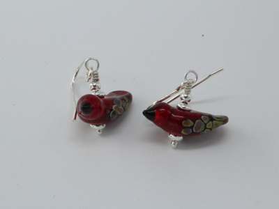 Bird earrings - red