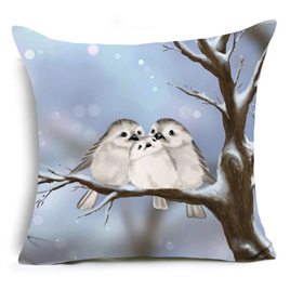 Bird Family on Snowy Tree Cushion Cover
