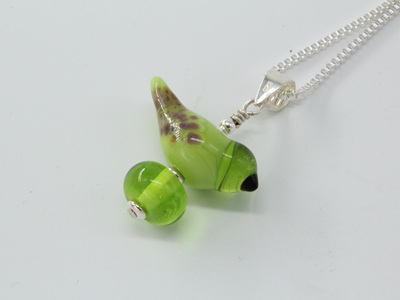 Bird pendant - pea green