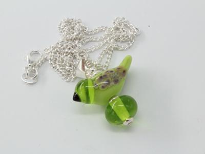 Bird pendant - pea green