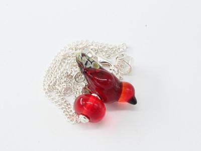 Bird pendant - red