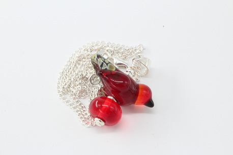 Bird pendant - red