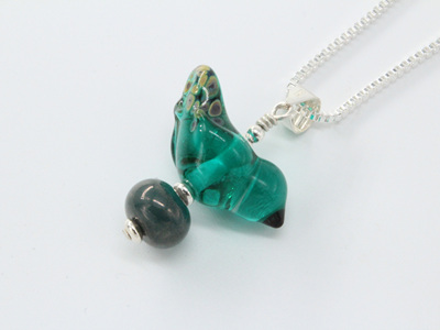 Bird pendant - teal