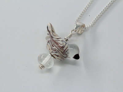Bird Pendant - White & black stripe