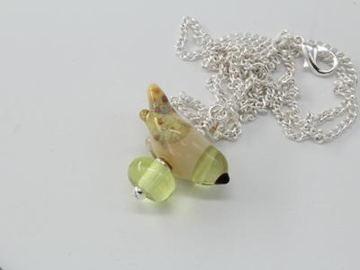 Bird pendant - yellow opal /pale green
