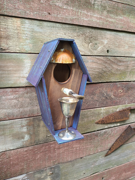 Birdhouse with Silver Goblet