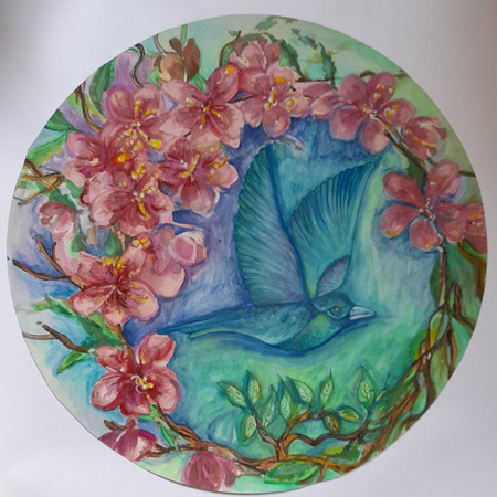 Birds and Flowers #2 - Print on Board - 39cm diameter