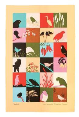 Birds and Plants Tea Towel