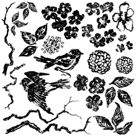 Birds, Branches and Blossom IOD Decor Stamp