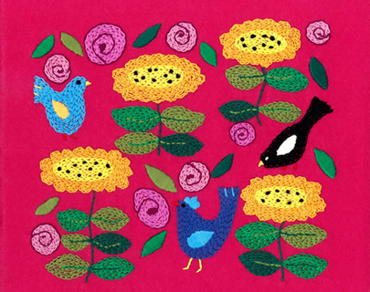 Birds in my Garden Embroidery on Felt