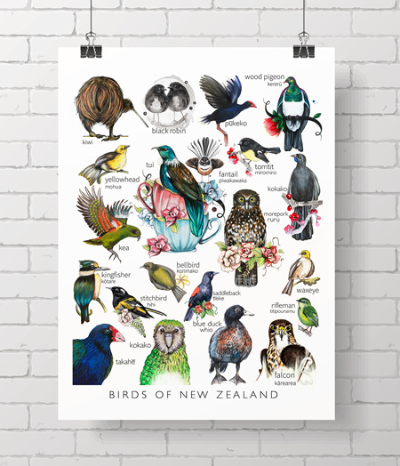 birds of NZ - the Love Lis collection * A4