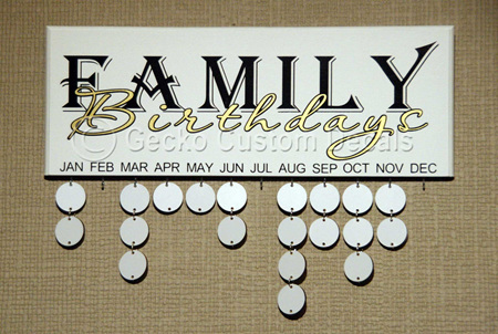 Birthday Board - Family Birthdays Text