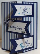 Birthday Card - Dragon Fly Blue Stripes