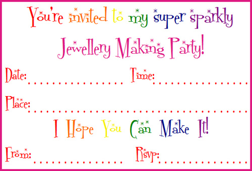 birthday jewellery making party invitations daisy designs