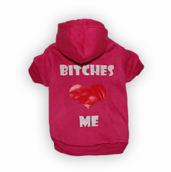 Bitches love me hot pink dog hoodie