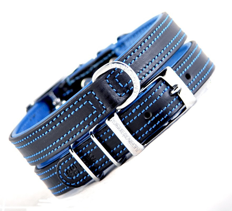 Black and Blue Leather Dog Collar by Rogue Royalty