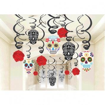 Black and Bone Foil Swirl Decoration - for Halloween