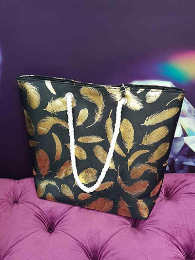 Black and Gold Feather Bag