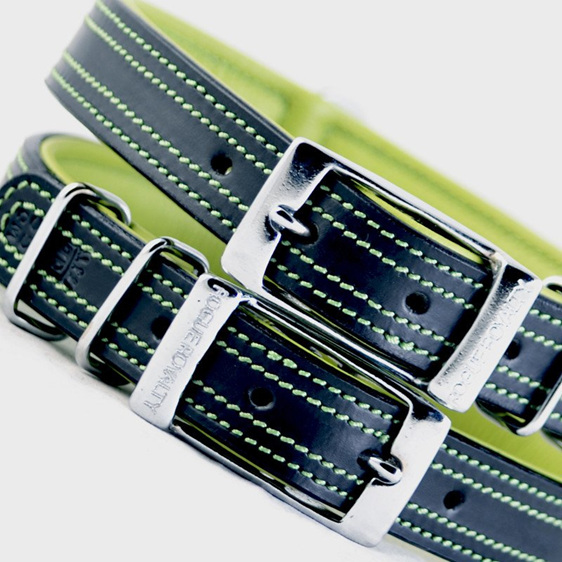 Black and Green Leather Dog Collar by Rogue Royalty