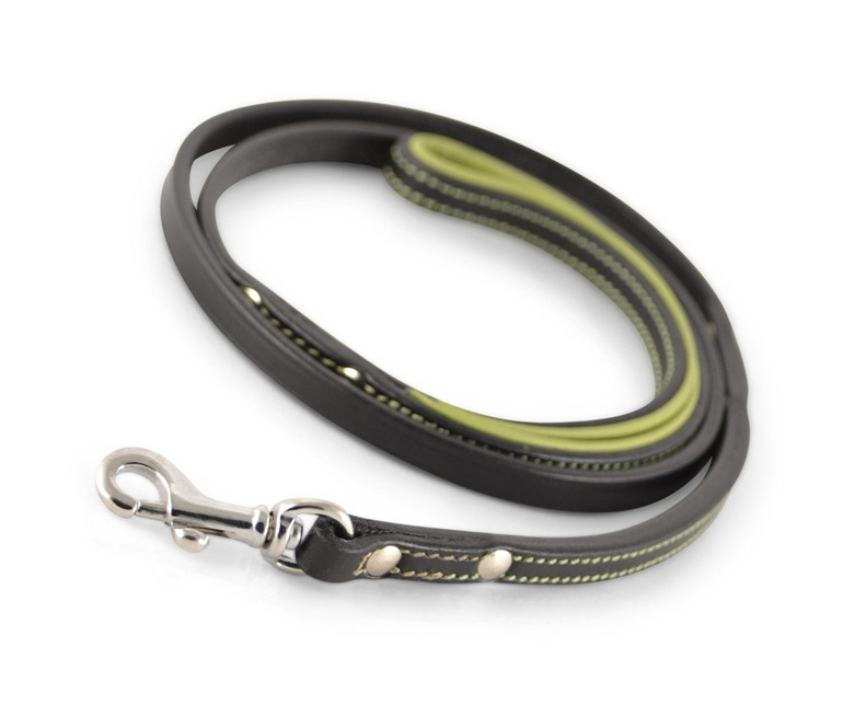 Black and Green Leather Dog Leash by Rogue Royalty
