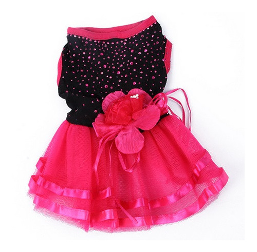 Black and hot pink bubble dress with bling