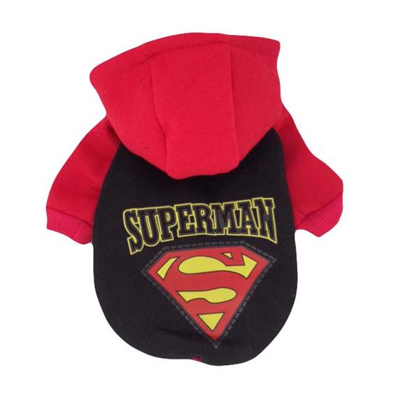 black and red superman dog costume hoodie