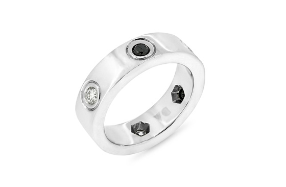 Black and White Diamond Platinum Band