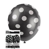 """Black and White Dots balloons pack of 6 x 12"""""""