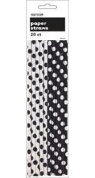Black and White Dots paper Straws x 20