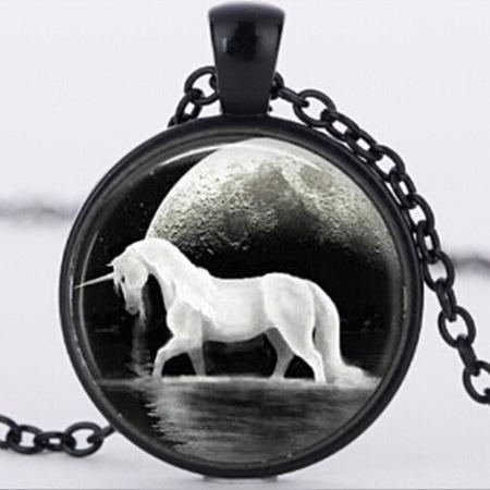 Black Background Unicorn Necklace - Black Chain