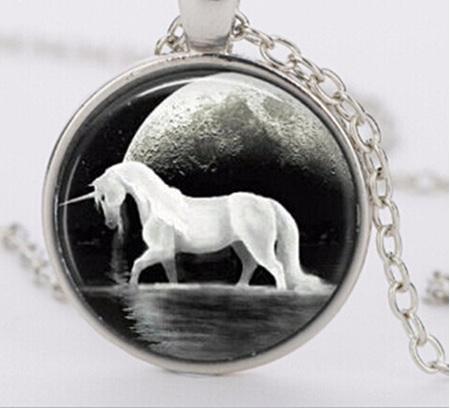 Black Background Unicorn Necklace - Silver