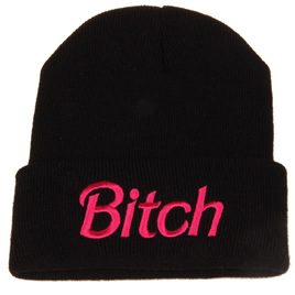 Black Beanie with Hot Pink Writing - BITCH