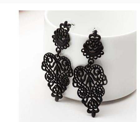 Black Bohemian Openwork Pattern Earrings