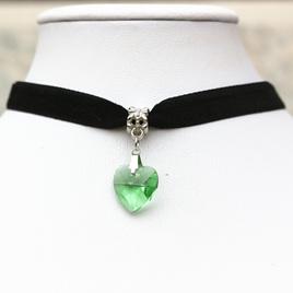 Black Choker with Heart Pendant *Light Green*