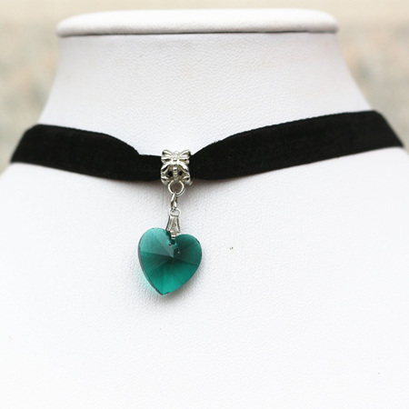 Black Choker with Heart Pendant *TEAL*