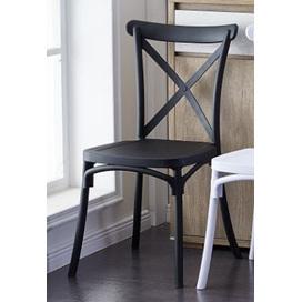 Black Cross Back Resin Plastic Chair DUE  LATE November '21