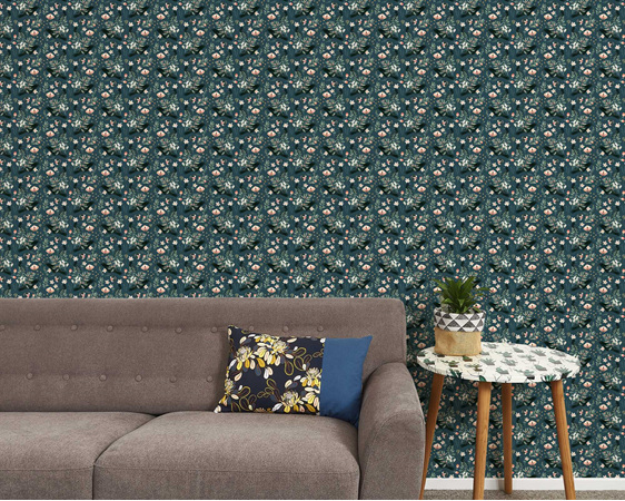 Black crow and butterflies removable wallpaper with couch and table